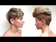 Pixie haircut with disconnection. TIP: When cutting rounded layers, move your body with each section. This will help you to control your rounded form all ove. Girls Pixie Haircut, Cute Pixie Haircuts, Social Media Stars, Hair Shows, Celebrity Red Carpet, Beauty Industry, Celebrity Hairstyles, Role Models, Videos