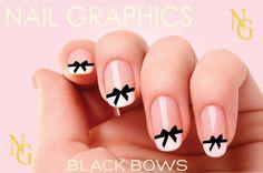 30 BLACK BOWS Nail Decals CHANEL Nail Art