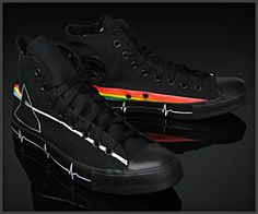 Converse Chuck Taylor All Star Pink Floyd Dark Side of the Moon Converse Chuck Taylor All Star, Converse All Star, Chuck Taylor Sneakers, Pink Floyd Dark Side, Fashion Shoes, Mens Fashion, Black Canvas, How To Look Pretty, Chuck Taylors