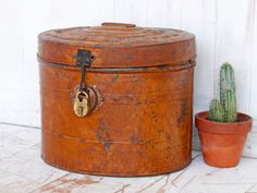 Scaramanga loves this vintage hat tin which has been painted a deep orange, this item would make a great storage feature for the kitchen, living room or bedroom. Salvaged Doors, Vintage Windows, Architectural Salvage, Storage Solutions, Tin, Restoration, Decorative Boxes, The Originals, Kitchen Living