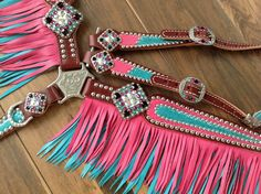 Pink with Metallic Turquoise Fringe Leather Breast collar Western Horse Tack, Cowgirl And Horse, My Horse, Western Saddles, Barrel Saddle, Barrel Racing Horses, Barrel Horse, Horse Riding Gear, Horse Gear