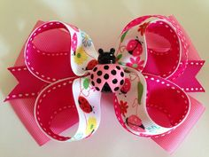 """CUTE!!!!!! 5"""" Pink Lady Bugs Boutique Hair Bow. #Handmade"""