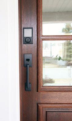 Sneak Peek at the new Front Door + Schlage Giveaway! - Sneak Peek at the new Front Door + Schlage Giveaway! Black Exterior Doors, Exterior Door Hardware, Front Door Hardware, Black Door Hardware, Modern Exterior, Exterior Design, Front Door Locks, Smart Door Locks, House Front Door
