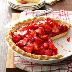 Strawberry Cream Cheese Pie Recipe -Cheesecake lovers will savor every bite of this light and pretty pie, even if they don't have to watch their diets. Our whole family enjoys it. —Kim Van Rheenen, Mendota, Illinois