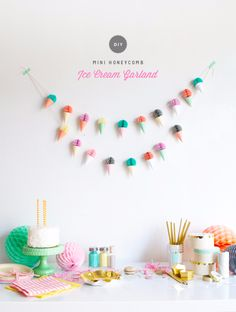 39 Easy DIY Party Decorations - Mini Honeycomb Ice Cream Garland - Quick And Cheap Party Decors, Easy Ideas For DIY Party Decor, Birthday Decorations, Budget Do It Yourself Party Decorations http://diyjoy.com/easy-diy-party-decorations