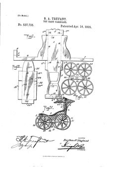 Patent US537735 - TOY BABY-CARRIAGE - Google Patents