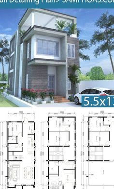Modern Home Plan 5.5x13m With 6 Bedroom - SamPhoas Plansearch Sims House Plans, Duplex House Plans, Dream House Plans, Small House Plans, House Floor Plans, House Plans With Photos, 2 Storey House Design, House Front Design, Small House Design