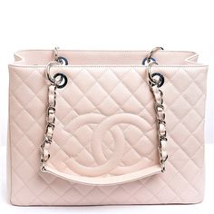 Chanel Handbag | Chanel Baby Pink Quilted Caviar Leather Grand Shopper Tote (GST) Bag Never Carried