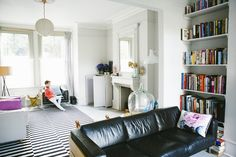 and After: A London Victorian Transformed Black and white Ikea carpet in living room of Victorian house renovation by Imperfect Interiors, Beth Dadswell, London, Photography by Leanne Dixon Victorian Living Room, Victorian Interiors, Modern Victorian, Victorian Homes, Victorian London, Living Room Carpet, Home Living Room, Living Spaces, Living Area