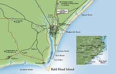 Directions to Bald Head Island- The southernmost of North Carolina's cape islands, Bald Head Island is located at the confluence of the Cape Fear River and Atlantic Ocean. A pleasant 20-minute passenger ferry ride transports you from the ferry terminal at Deep Point Marina in historic Southport, N.C. to the harbor at Bald Head Island, a distance of two nautical miles.