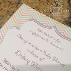 custom designed whimsical chevron baby shower invitations #genderneutral #chevron #frame  by ComplimentsFromSarah.com
