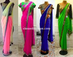 Mirror Work Saree with Jacket blouse designs