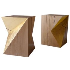 Gold Cube - Stools or Side tables - by Damien Hamon Furniture Care, Luxury Furniture, Wood Furniture, Furniture Design, Cube Side Table, Side Tables, Vintage Stool, Sustainable Furniture, Modern Stools