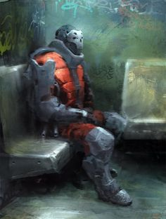 This guy looks like he could destroy anyone but he's sitting there thinking about philosophy on a dirty subway