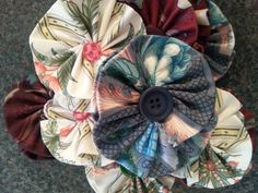 Fabric flowers to decorate our centre piece