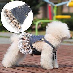 Pet Clothes Wholesale Dog Dresses Denim Suspender Skirts Rhinestones Lace Dress