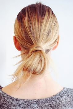 Wrapped low bun: http://www.stylemepretty.com/living/2016/04/05/second-day-hair/