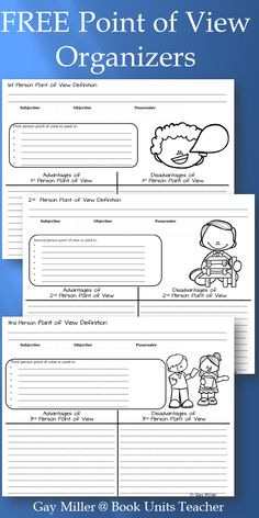 Free Point of View Organizers and Activity Reading Skills, Teaching Reading, Reading Fluency, Reading Activities, Guided Reading, 6 Traits Of Writing, Writing Tips, Authors Viewpoint, Middle School Drama