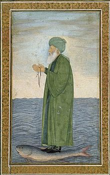 Muslim sage Al-Khizr as shown in a Mughal era manuscript miniature. Kept in the Victoria and Albert Museum, London, inventory number Mughal Paintings, Islamic Paintings, Koi, Green Knight, Epic Of Gilgamesh, Mystique, Green Man, Religious Art, Islamic Art