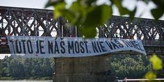"Komu typeface in protest campaign against the untransparent reconstruction (demolition?) of the ""Old bridge"" in Bratislava Bratislava, Ale, Old Things, Bridge, Campaign, Ale Beer, Bridges, Ales, Bro"