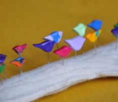 Cutest little bird sewing pins!  She also has heart ones!
