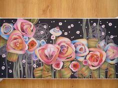 Buy batik painting on silk «Warm day Abstract Flowers, Watercolor Flowers, Composition Art, Batik Art, Silk Art, Southwest Art, Fashion Painting, Botanical Art, Fabric Painting