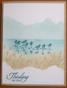"By Susan Campfield. Uses Stampin' Up ""Wetlands"" stamp set. Mask and sponge."