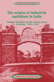 """""""The origins of industrial capitalism in India"""" (1994) de R. Chandavarkar. The book presents a study of the relationship between labour and capital in India's economic development in the early 20th century.  The author examines the social processes of both industrialization and class formation. https://en.wikipedia.org/wiki/Rajnarayan_Chandavarkar en http://absysnet.bbtk.ull.es/cgi-bin/abnetopac?TITN=341159"""