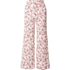 Emilia Wickstead Hullinie floral-print crepe wide-leg pants ($710) ❤ liked on Polyvore featuring pants, red, white trousers, white pants, red wide leg pants, floral print pants and wide leg pants