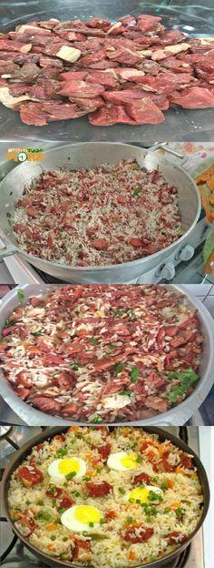 Arroz Carreteiro #ArrozCarreteiro #Receitatodahora Chef Recipes, Vegetarian Recipes, Dinner Recipes, Cooking Recipes, Comida Diy, Portuguese Recipes, Daily Meals, Diy Food, Good Food