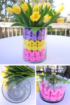 Easter Decorations 99516 If you're hosting an upcoming Easter or Spring celebration, we have a quick and easy DIY Easter centerpiece using PEEPS marshmallow treats that guarantee to brighten up your Easter table setting. Diy Osterschmuck, Easy Diy, Diy Crafts, Fun Diy, Ostern Party, Diy Ostern, Easter Crafts, Holiday Crafts, Holiday Fun