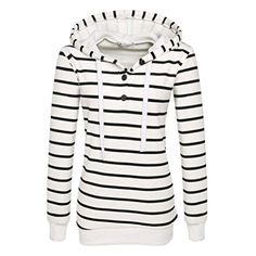 AMATM Women Stripe Long Sleeve Hooded Sweatshirt Hoodie Pullover Tops Coat L White -- Click image for more details. Sports Sweatshirts, Hooded Sweatshirts, Cotton Hoodies, Striped Hoodies, Sweater Hoodie, Pullover, Cool, Size Chart, Fashion Hoodies
