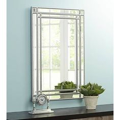 Beaded Details Accent The Inner And Outer Border Of This Large Beveled Wall  Mirror In A