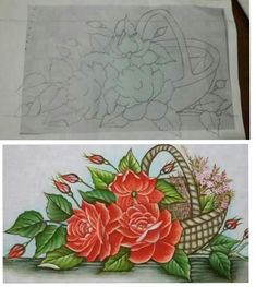 Rose Sketch, One Stroke Painting, Decorative Boxes, Drawings, Flowers, Baskets, Paintings, Beautiful Paintings, Nail Art