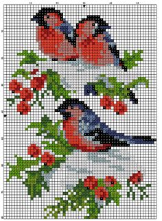 free counted cross stitch chart; red birds and flowers