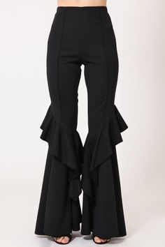 Great with Cowboy Boots -Bell Bottom Pant. Great with Cowboy Boots - Looking for the Endless Rose Let Loose Black Ruffled Pants? Fashion Pants, Boho Fashion, Fashion Dresses, Fashion Top, Bell Bottom Pants, Bell Bottoms, Sleeves Designs For Dresses, Ruffle Pants, Frock Design