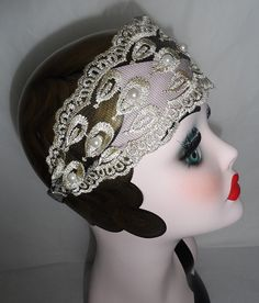 Vintage style Charleston Flapper Great Gatsby fancy dress costume prom races party hen wedding ladies hair lace headband on Etsy, €8,92