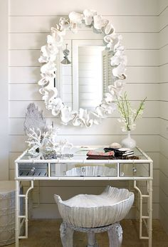 Alessandra Branca Interior Design, Chic Bahamas Retreat featured in Lonny Magazine August 2014,  coral mirror and faux bamboo console