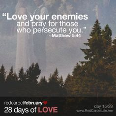 "Day 15/28: ""But I tell you, love your enemies and pray for those who persecute you."" ~Matthew 5:44 