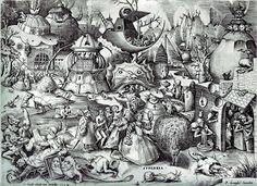 Pride by Pieter Bruegel the Elder, Engraving published by Hieronymus Cock. Bibliothèque Royale, Cabinet Estampes, Brüssel The Seven Deadly Sins or the Seven Vices Pieter Brueghel El Viejo, Pieter Bruegel The Elder, Dream Pictures, Medieval, Dutch Golden Age, Renaissance Paintings, Landscape Drawings, Seven Deadly Sins, Fantastic Art