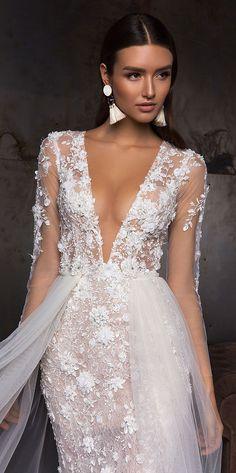 V neck long sleeves heavy embellishment fit and flare wedding dress detachable skirt : Crystal Design wedding gown #weddinggown #weddingdress #bridalgown