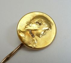 Fine French Diamond Stick Pin by Emile Vernier in 18ct Yellow Gold from beaconhilljewelers on Ruby Lane