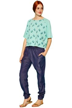 People Tree   Dana Relaxed Trousers in Blue
