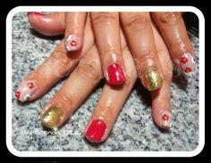 Esmaltado en gel ,glitter y nail art