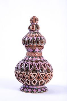 """Ceramic Bottle with Stopper - Fair Trade Handcrafted by Tajik Master Ceramics Artist Saidov Sukhrob Approximately 8"""" high, 4.5"""" in diameter Double-walled, glazed inside Only 1 in stock Master Sukhrob,"""