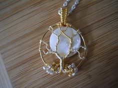 Tree of Life Pendant Mother of Pearl Moon Wire by OurFrontYard, $27.77