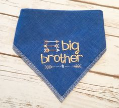 Big Brother Dog Bandana. Dark Chambray denim-look sturdy neckwear with rustic style and arrows. Pregnancy announcements and photos with pets by CollarRap on Etsy
