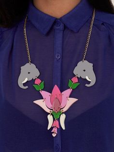 Make a statement this summer with our Lotus Flower Celebration Necklace. Two elegant elephants flank a fluoro, bubble gum and mirror pink lotus flower. Best of all? It's now just £63 in our sale! Shop now: http://www.tattydevine.com/lotus-flower-celebration.html