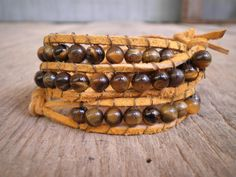 Wrap Bracelet  Yellow Suede Tiger Eye Beads by SweetpeaWishes, $8.50