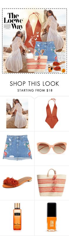 """#123"" by beautifulplace ❤ liked on Polyvore featuring Loewe, ADRIANA DEGREAS, MANGO, Linda Farrow, Aquazzura, Mar y Sol, Victoria's Secret, Jin Soon and EARTH TU FACE"